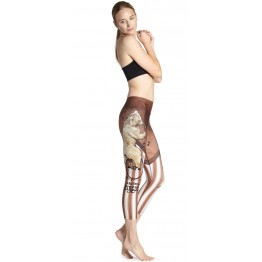2016 New Cartoon Bear Printing Elastic Exercise Clothing For Women Swallow Peacock Printed Black Fitness Yuga Pants 3 Patterns