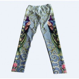 New Cartoon Bear Printing Elastic Exercise Clothing For Women Swallow Peacock Printed Black Fitness Yuga Pants 3 Patterns