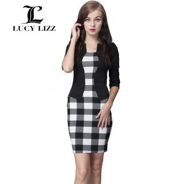 Women Clothes Fashion Dress Three Quarter Sleeve Sheath Print O-Neck Plus Size Party Work Dress Vestidos Dress32726502255