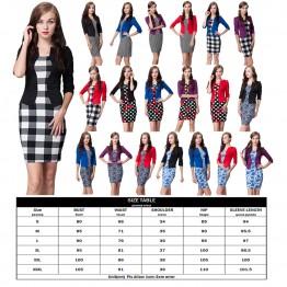 Women Clothes Fashion Dress Three Quarter Sleeve Sheath Print O-Neck Plus Size Party Work Dress Vestidos Dress