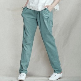 2016 Summer Style New Fashion All-Match Commuter Flax Linen Casual Elastic Waist Harem Pants Women Pantalon Femme 4 Colors