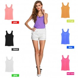 2016 Summer explosion models candy color chiffon shirt bottoming shirt sleeveless chiffon camisole vest female T-shirt women top