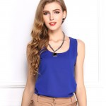 2016 Summer explosion models candy color chiffon shirt bottoming shirt sleeveless chiffon camisole vest female T-shirt women top