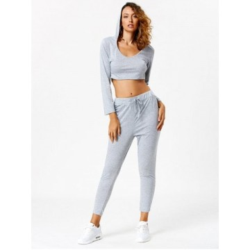 Active Long Sleeve Hooded Crop Top and Pants - Light Gray - M
