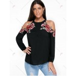 Applique Embroidery Open Shoulder Top - Black - Xl
