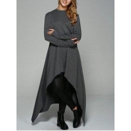 Asymmetrical Loose-Fitting Hoodie - Deep Gray - L