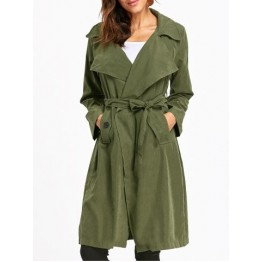 Back Slit Wrap Trench Coat - Army Green - 2xl