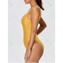 Backless High Cut One Piece Swimwear - Yellow - S