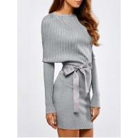 Batwing Knit Dress With Bowknot Sash - Light Gray - L