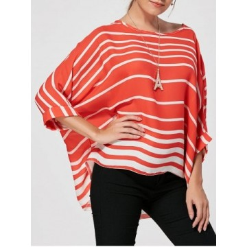 Batwing Sleeve High Low Striped Blouse - Red - Xl95637