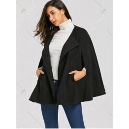 Batwing Sleeve Woollen Cape Coat - Black - 2xl