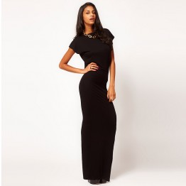 Black Women Dress Short Sleeve Slim Fit Turtle Neck Plunge Backless Sexy High Back Slit Full Dress Floor Length Woman Dress