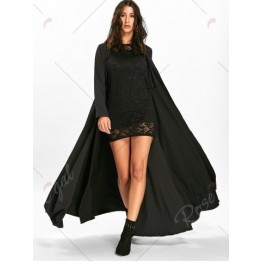 Bodycon Lace Mini Dress with Long Coat - Black - 2xl