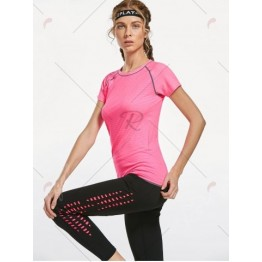 Breathable Raglan Sleeve Gym T-shirt - Pink - M