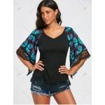 Butterfly Raglan Sleeve Lace Trim T-shirt - Breezy - Xl