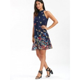 Butterfly Sleeveless Chiffon High Neck Dress - Purplish Blue - Xl