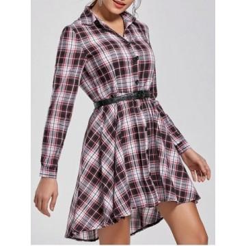 Button Up Plaid Long Sleeve Shirt Dress - Xl