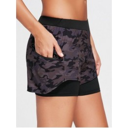 Camo Zip Pocket Two Layered Sports Shorts - Black - M