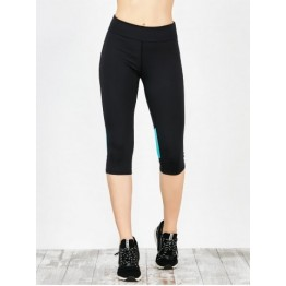Capri Workout Two Tone Running Leggings - Blue Green - Xl