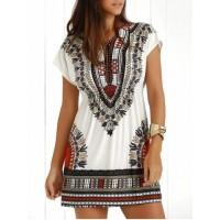 Casual Ethnic Summer Mini Dress - Jacinth - One Size