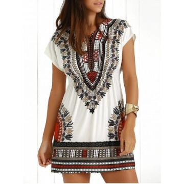 Casual Ethnic Summer Mini Dress - Jacinth - One Size625943