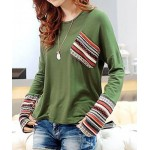 Casual Scoop Neck Long Sleeves Striped Splicing T-Shirt For Women - Green - One Size