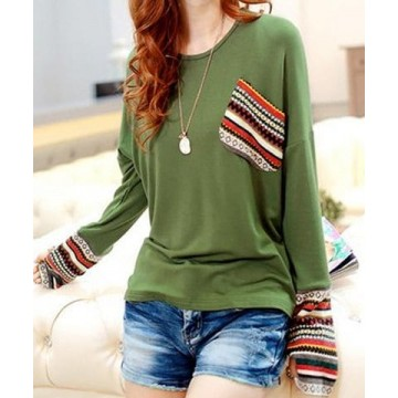 Casual Scoop Neck Long Sleeves Striped Splicing T-Shirt For Women - Green - One Size126182