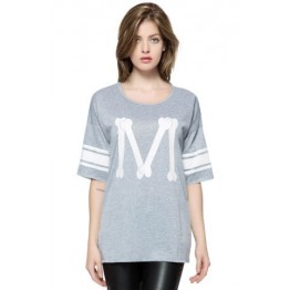 Casual Scoop Neck Loose-Fitting Printed 3/4 Length Sleeve T-shirt For Women - Deep Gray - One Size