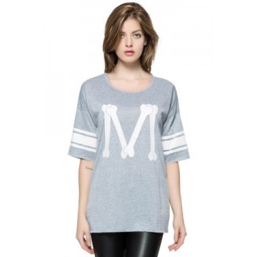 Casual Scoop Neck Loose-Fitting Printed 3/4 Length Sleeve T-shirt For Women - Deep Gray - One Size1324247