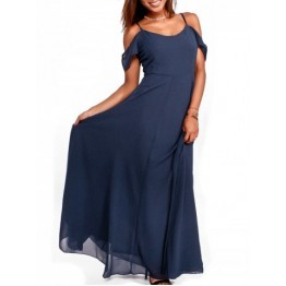 Chiffon Cold Shoulder Maxi Flowy Dress - Purplish Blue - 2xl