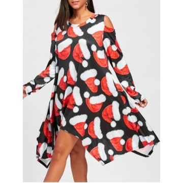 Christmas Hat Printed Cold Shoulder Asymmetrical Dress - Black And Red - 2xl