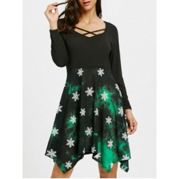 Christmas Snowflake Print High Waist Handkerchief Dress - M