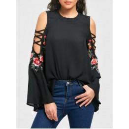 Cold Shoulder Flarel Sleeve Embroidery Blouse - Black - L