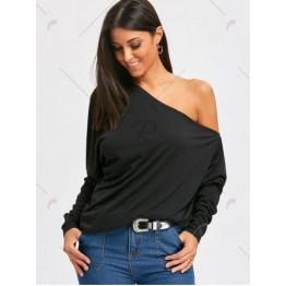 Cold Shoulder Skew Collar Blouse - Black - L