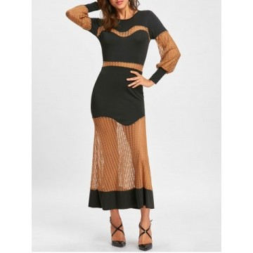 Color Block Hollow Out Long Sleeve Party Dress - Black - L