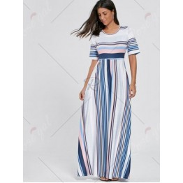 Color Block Striped Tee Shirt Maxi Dress - Blue - 2xl