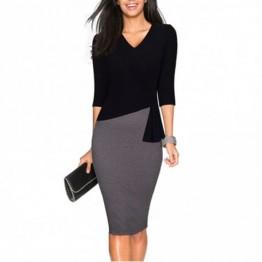 Color Block V Neck Sheath Dress - Black - L