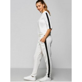 Contrast Drawstring Pocket Design Gym Suit - White - S