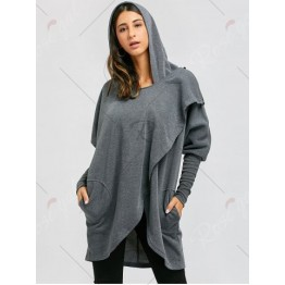 Convertible Long Open Front Drape Hoodie - Deep Gray - M