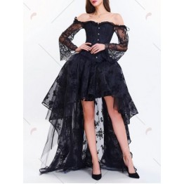 Corset Top with High Low Skirt - Black - S