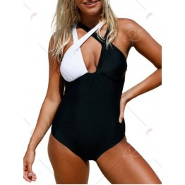 Criss Cross Color Block Swimsuit - Black - L