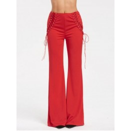 Criss Cross Lace Up High Waist Flare Pants - Red - M