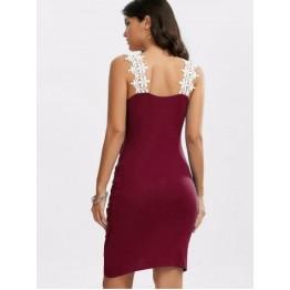Crochet Panel Overlap Ruched V Neck Dress - Wine Red - M