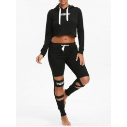 Crop Hoodie and  Cutout Letter Sports Leggings - Black - S