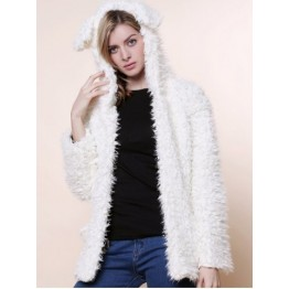 Cute Bear Ear Design Hooded Long Sleeves Women's White Faux Fleece Coat - White - L