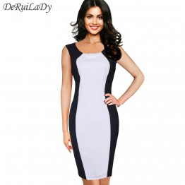 DeRuiLaDy Fashion Black White Splice Women Dress Sleeveles Vest Summer Dresses Plus Size Sexy Dress Vintage Office Bodycon Dress