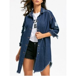 Distressed Frayed Hem Jean Coat - Denim Blue - M