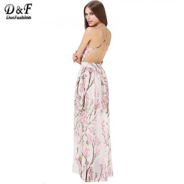 Dotfashion 2016 Summer Fashion Women Dresses Sexy Elegant Party Spaghetti Strap Backless Floral Print Maxi Dress