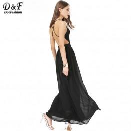 Dotfashion 2016 Summer Fashion Women Dresses Sexy Elegant Party Spaghetti Strap Backless Floral Print Maxi Dress