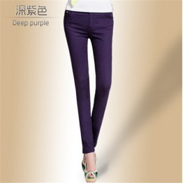 Drop Ship Colored Stretch Fashion Female Candy Colored Pencil Women's Pants Sexy Elastic Cotton Jeans Pants Denim Trousers